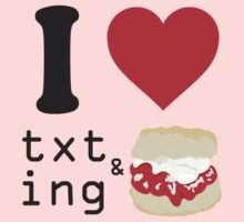 Texting and scones... One Piece - Short Sleeve