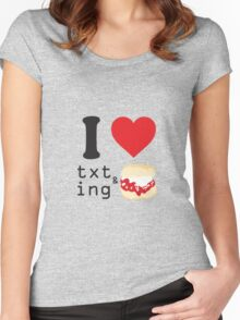 Texting and scones... Women's Fitted Scoop T-Shirt