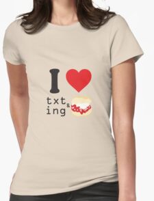 Texting and scones... Womens Fitted T-Shirt