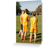 Soccer Team Mates Watch Game Greeting Card