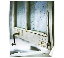 wintage wooden window closeup Poster