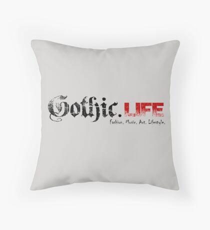 Gothic.Life Logo (White with tag) Throw Pillow