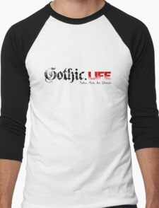 Gothic.Life Logo (White with tag) Men's Baseball ¾ T-Shirt