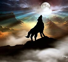 THE CANYON WOLF HOWLING AT THE FULL MOON by Elizabeth Giupponi