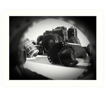 Zenit camera and 35mm film  Art Print