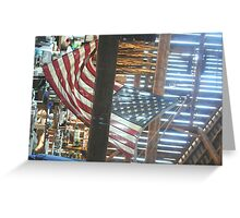 US Flag in Old Barn Greeting Card