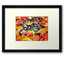Fall Art prints Colorful Autumn Leaves Rocks Framed Print