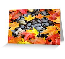 Fall Art prints Colorful Autumn Leaves Rocks Greeting Card