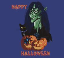 Green Witch, Black Cat, Blue Spider and Orange Pumpkins Lettered by Lotacats
