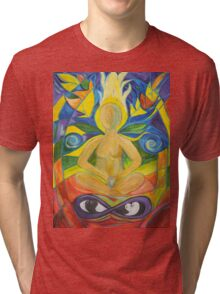 Stained Glass Yoga Meditation Tri-blend T-Shirt