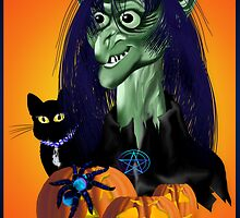 Green Witch, Black Cat, Blue Spider and Orange Pumpkins Poster by Lotacats