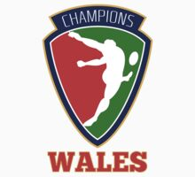 rugby player kicking ball champions Wales by patrimonio