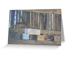 Old Boxes in Barn Greeting Card