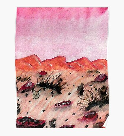 Desert scene, on a hot day, watercolor Poster