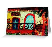 Old house with broken stucco, watercolor Greeting Card