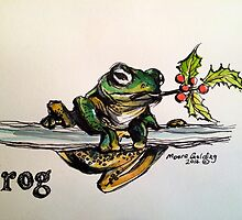 Christmas frog. Elizabeth Moore Golding© by Elizabeth Moore Golding