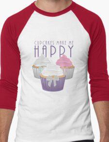 Cupcakes Make Me Happy Men's Baseball ¾ T-Shirt