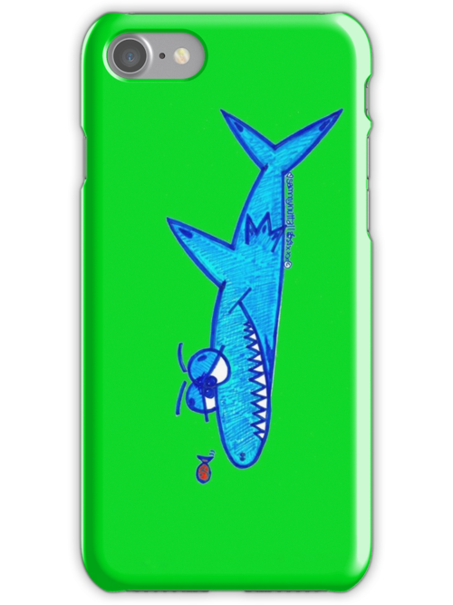 Sharky On Green: iPhone Case by Sammy Nuttall