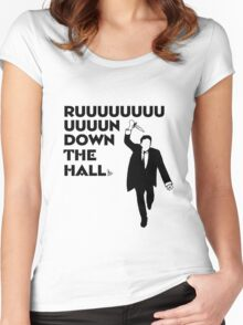 """""""Ruuuun down the hall"""" Women's Fitted Scoop T-Shirt"""