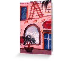 2 story Spanish style Old house, watercolor Greeting Card