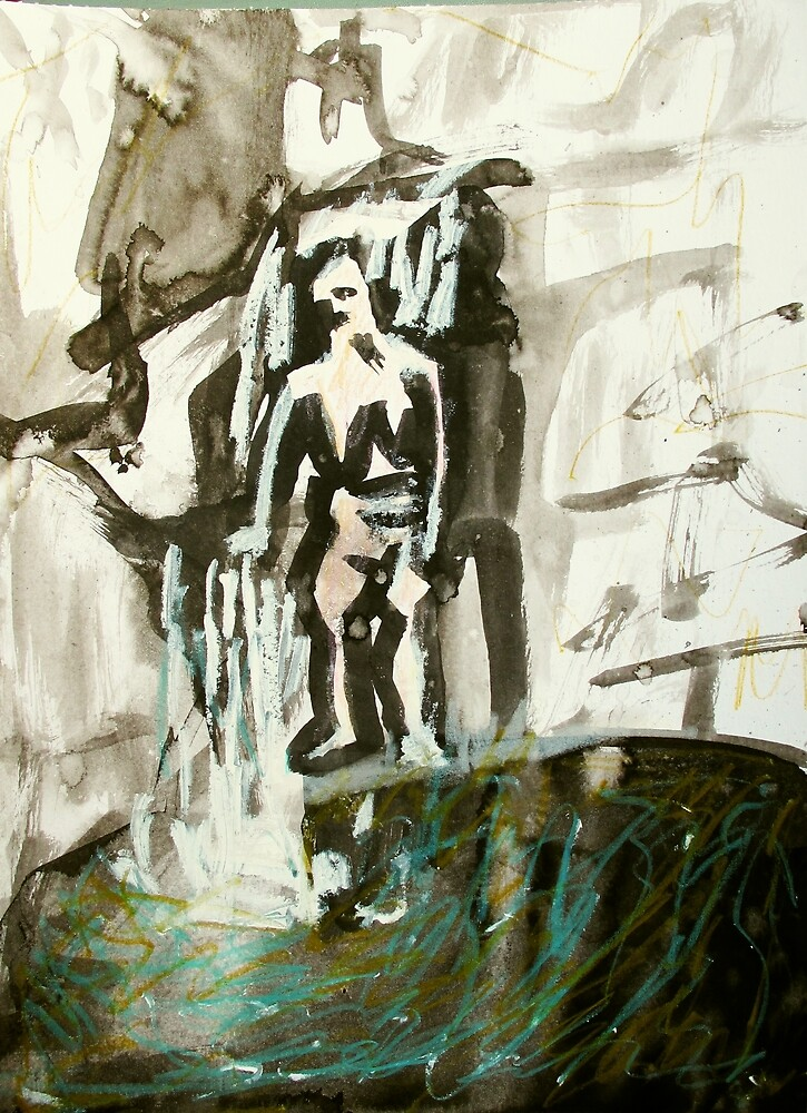 waterfall with figure by donna malone