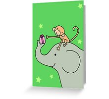 Birthday Monkey and Elephant Friend  Greeting Card