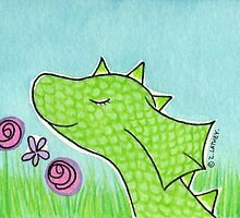 Green Dragon Smelling Flowers  by Zoe Lathey