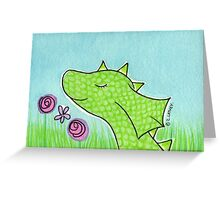 Green Dragon Smelling Flowers  Greeting Card