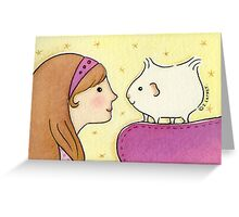 Girl with Guinea-pig Greeting Card