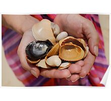 Woman holding shells Poster