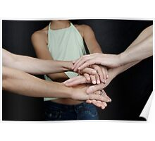 Grandmother, daughter and granddaughter touching hands Poster