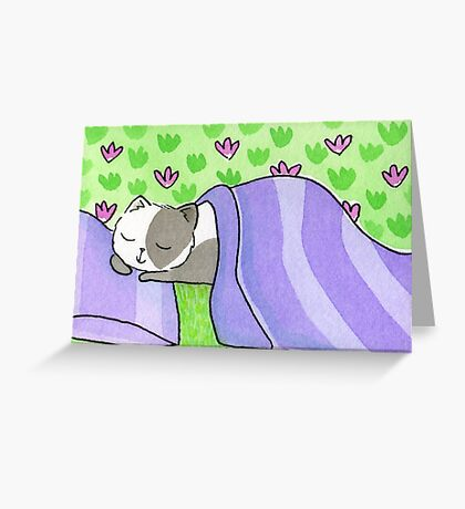 Cat Napping in the Garden Greeting Card