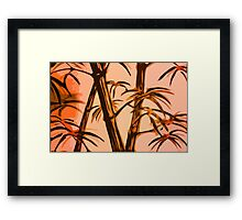 orange geometric bamboo Framed Print