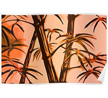 orange geometric bamboo Poster