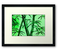 green geometric bamboo Framed Print