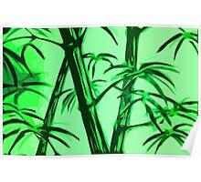 green geometric bamboo Poster