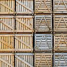 Stacks of wooden crates by Sami Sarkis