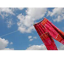 Pant hanging on washing line Photographic Print