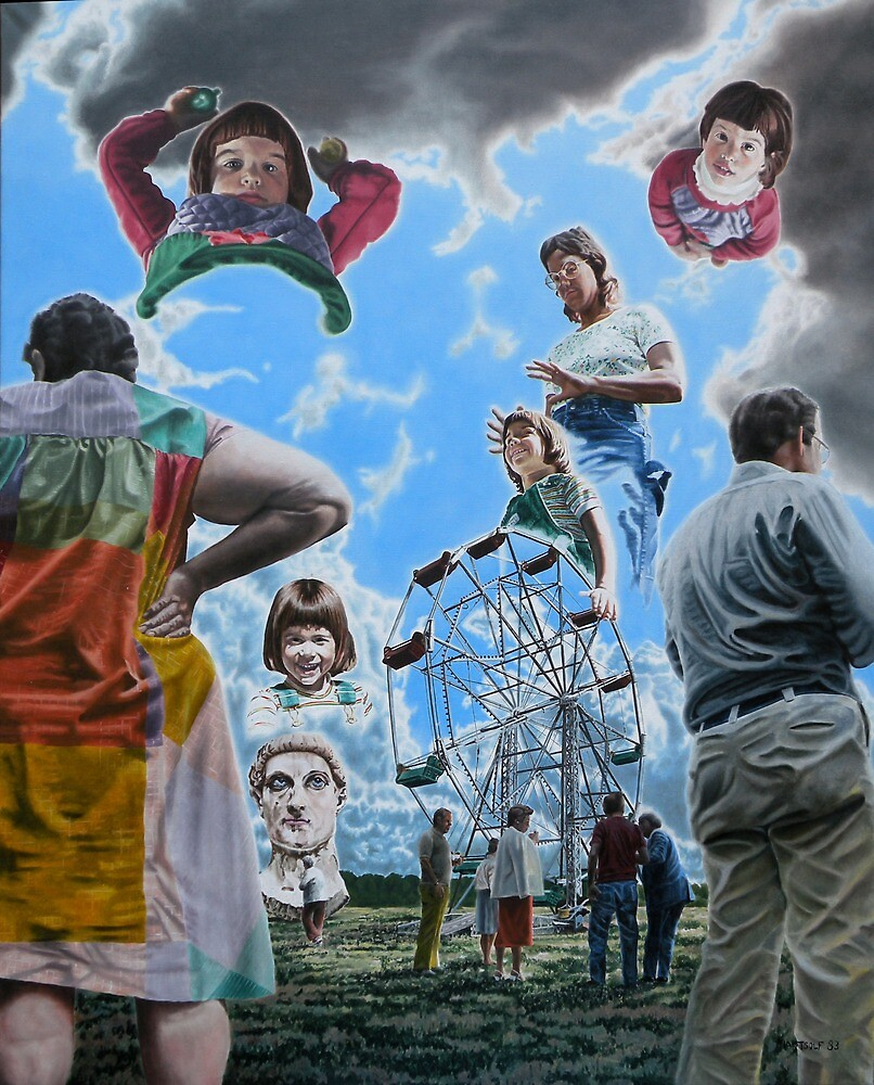 """Surrealism and the Ferris Wheel - oil on canvas - 47"""" x 58"""" by Dave Martsolf"""
