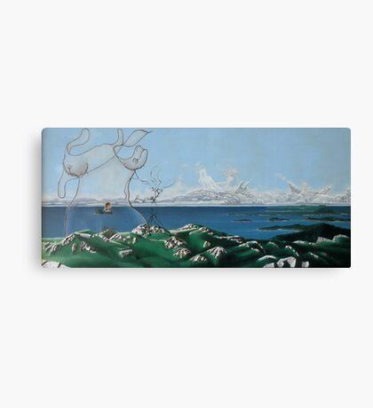 "Surreal Feminine Landscape - oil on canvas - 60"" x 28"" Canvas Print"