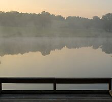 Wooden pontoon and hazy pond at sunrise by Sami Sarkis