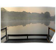 Wooden pontoon and hazy pond at sunrise Poster