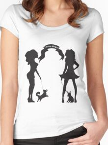 Hand drawn black and white silhouette a glamour girls with a little dog and words I love dogs. Women's Fitted Scoop T-Shirt