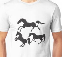 Hand drawn sketch set of horses silhouettes on white background. Unisex T-Shirt