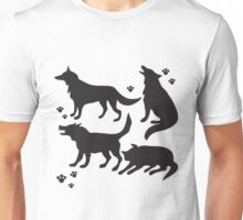 Hand drawn sketch set of wolves silhouettes on white background. Unisex T-Shirt
