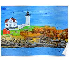 Cape Neddick Lighthouse/painted Poster