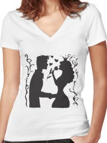 Hand drawn sketch black and white silhouette a princess with a tulip and a prince. Women's Fitted V-Neck T-Shirt