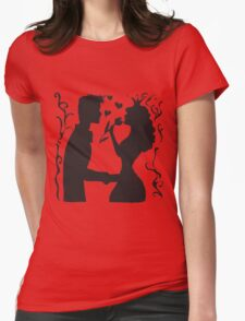 Hand drawn sketch black and white silhouette a princess with a tulip and a prince. T-Shirt