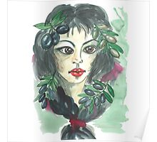 Hand drawn water color illustration a greece girl with black long hair and olives. Poster