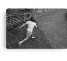 Girl running away on Great Wall of China Metal Print